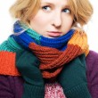 Stock Photo: Beauty young sick womwith scarf and g