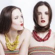 Portrait of a couple beauty young women - ストック写真