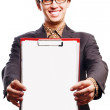 Beauty young business man with Clipboard — Stock Photo