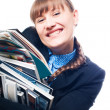 Stock Photo: Young woman with magazines