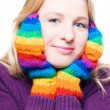 Young woman in a bright colorful gloves — Stock Photo