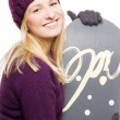 Stock Photo: Beauty young womwith snowboard