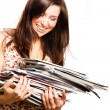 Beauty young woman with magazines — Stock Photo