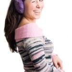 schoonheid jonge vrouw met violet hoofdtelefoon — Stockfoto
