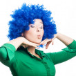 Beauty Young woman in a blue wig - Stock Photo