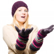 Beauty young woman in gloves and cap — Stock Photo