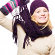 Beauty young woman with hat, gloves and — Stock Photo