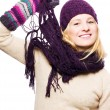 Beauty young woman with hat, gloves and — Stock Photo #1074046