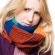 Sick beauty young woman in a scarf — Foto Stock