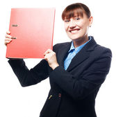 Happy business woman with red folder — Stock Photo