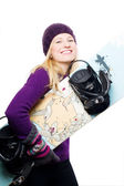Beauty young woman with snowboard — Stock Photo