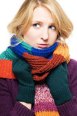 Beauty young sick woman with scarf and g — Stock Photo