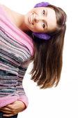 ヘッドフォンで若い女性をハッピー ビューティー — ストック写真