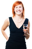 Beauty woman with champagne — Stock Photo