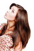Beauty young woman with long hairs — Stock Photo