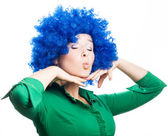 Beauty Young woman in a blue wig — Stock Photo