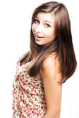 Beautiful young woman surprised — Stock Photo