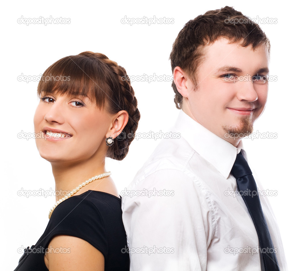 Best friends on a company party (isolated) — Stock Photo #1071398