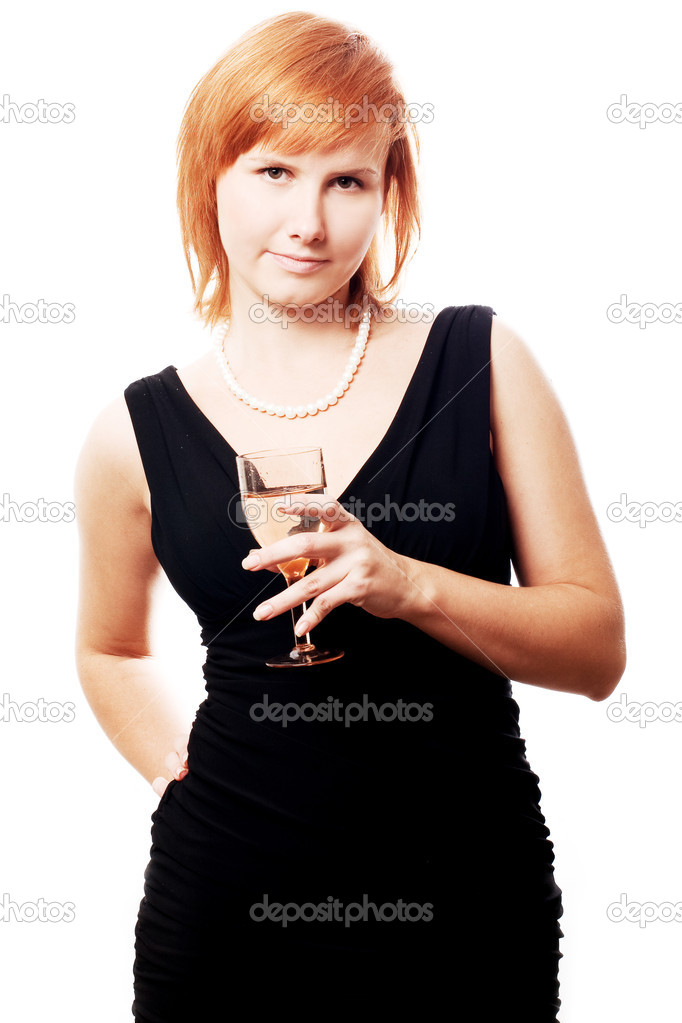 Beauty young woman with wine on the party (isolated) — Stock Photo #1072158
