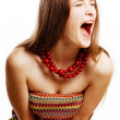 Beauty young woman in emotion doubt — Stock Photo