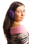 Beauty woman in heaphones — Stock Photo