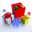 Boxes with snowflakes on a white backgro — Stock Photo