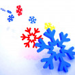 Snowflakes on a white background -  