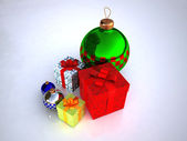 Christmas toys and Gift boxes — Stock Photo