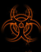 Sign biohazard in smoke clubs — Stock Photo
