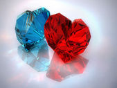 Ruby and amethystine hearts — Stock Photo