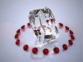 Diamond in a ring of rubies — Stock Photo