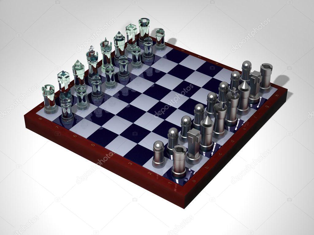Tabuleiro de xadrez com pecas de xadrez preto, isolado no fundo ...