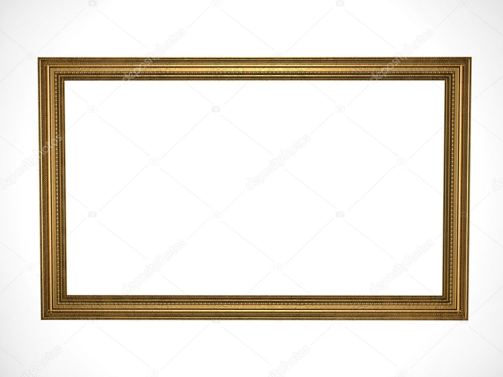 Picture gold frame with a decorative pattern  Stock Photo #1123338