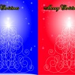 Abstract Christmas tree on a dark blue a — Image vectorielle