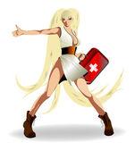 医療ケースを持つ少女 — ストックベクタ