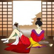 The reflecting geisha - Stock Vector