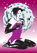 Vector. The girl against a disco-sphere — Stock Vector