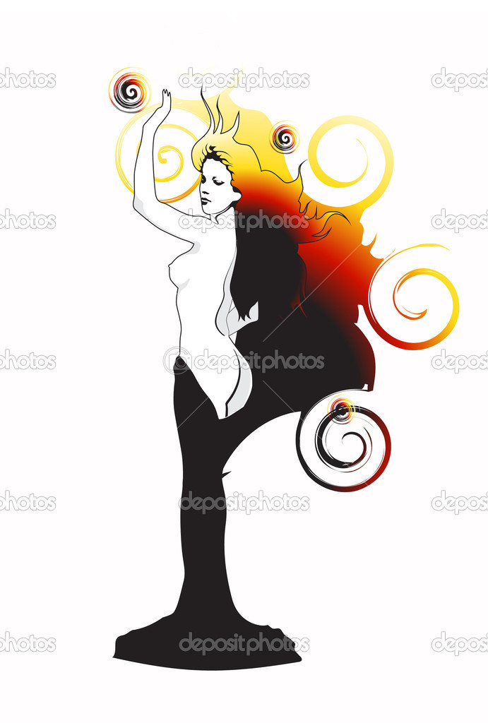 Abstraction. The bared girl on an abstract background. — Stock Vector #1143644