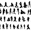 Vector silhouettes of sexy girls - Stock Vector
