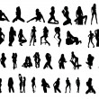 Vector silhouettes of sexy girls — Stockvectorbeeld