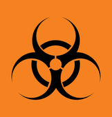 Vector sign biohazard on an orange backg — Stock Vector