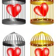 The hearts in cag - Stock Vector