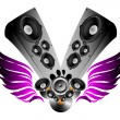 Vector winged loudspeakers - Stock Vector