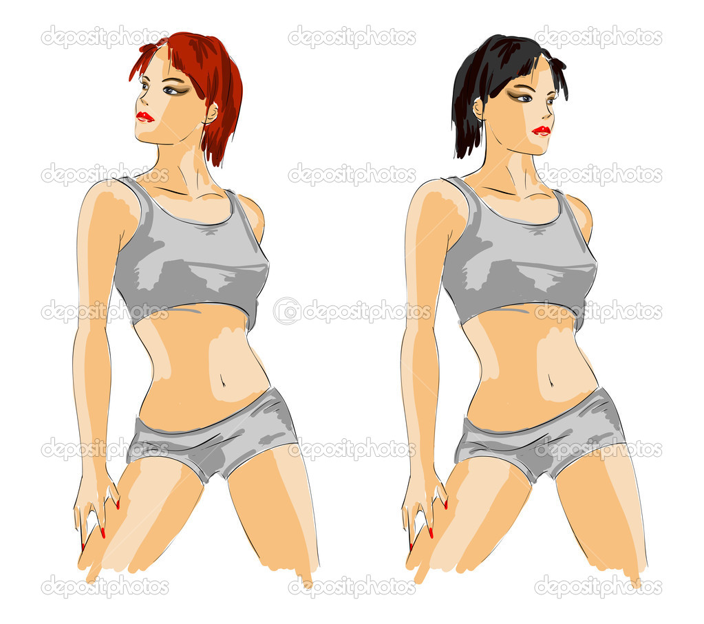 Woman fashion illustration.Vector sketch of the sports girl  — Stock Vector #2632816