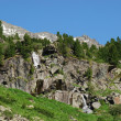 Stock Photo: Valley wth rocks, waterfall and cedars
