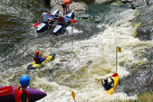 Sportsmen at competitions on rafting, river Iset, Russia — Stock Photo