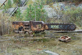 Large saw in neglected talc quarry — Fotografia Stock