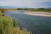 Settlement along the river — Stock Photo