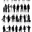 Construction workers silhouettes - Vettoriali Stock