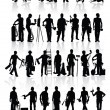Construction workers silhouettes — Stock Vector